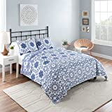 Vue 16241BEDDKNGBLU Stella 102-Inch by 90-Inch 3-Piece Reversible King Quilt Set, Blue