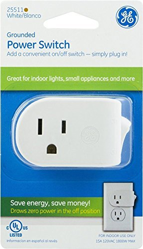 2-Pack : GE Grounded On/Off Power Switch, Plug-In, White, Energy Efficient, Space Saving Design, UL Listed, 15A, 120VAC, 1800W, (Ge White Switch)