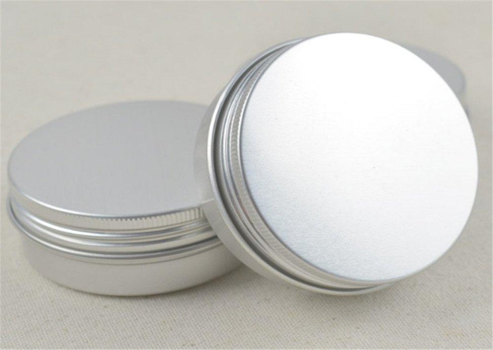 Interesting® 4Pcs tragbare leere kosmetische Silber Aluminium Topf Jar Dose Lip Gloss Make-up Container Aufbewahrungsbox (15ml + 30ml + 60ml + 100ml)