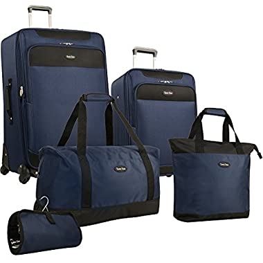 Travel Gear Star Bright 5 Piece Luggage Set, Navy/Black, One Size
