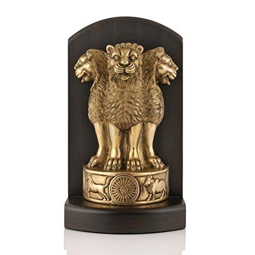 CraftVatika Brass Decorative Wooden Ashoka Stambh Emblem India Ashok Chakra Pillar Memento Sculpture Home Office Desk Artwork Showpiece(9 ()