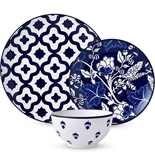 12-Piece Dinnerware Set,DL Stylish Dishes Dinner Plate Set Service for 4, Royal Blue Ceiba
