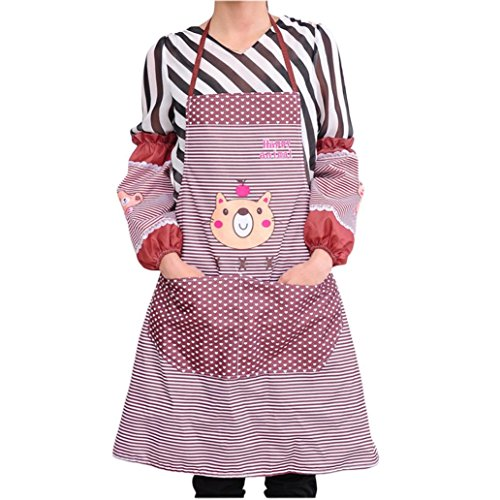 [Iuhan Fashion Womens Kitchen Restaurant Bib Cooking Aprons Pockets Apron (Coffee)] (1950s Geek Costume)