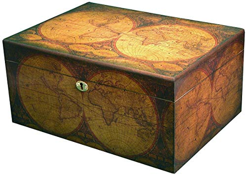 Desktop Humidor, Old World, Walnut Finish, Spanish Cedar Tray, 3 Dividers, Holds up to 100 Cigars, by Quality Importers