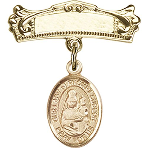 14kt Yellow Gold Baby Badge with Our Lady of Prompt Succor Charm and Arched Polished Badge Pin 7/8 X 3/4 inches ()
