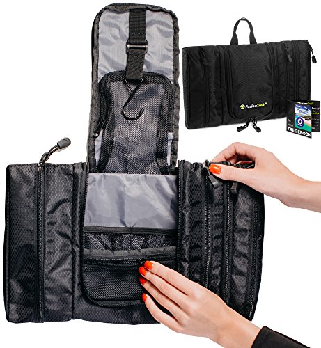 FLASH SALE Compact Hanging Toiletry Kit by FusionTrek for Men & Women | Portable Slim Packing Organizer with Mesh Pockets & Sturdy Hook + eBook with Vacation Tips