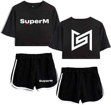 NCTCITY SuperM KPOP T-Shirt Crop Top /& Pantaloncini Stampa Maglietta Set Estate Casual Manica Corte Top e Pantaloncini per Donne Taemin Kai Baekhyun Mark TAEYONG Ten Lucas