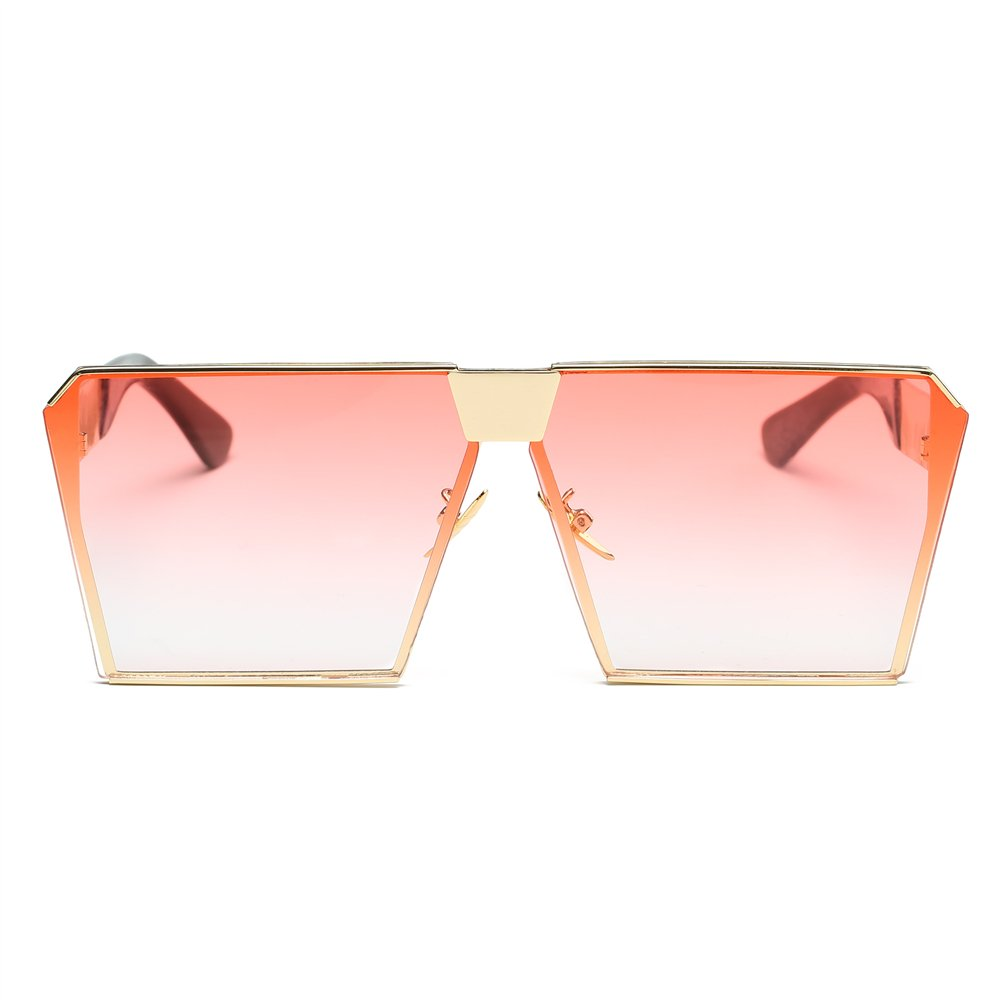 JOJO'S SECRET Oversized Square Sunglasses Metal Frame Flat Top Sunglasses JS009 (Gold/Transparent red, 2.48) by JOJO'S SECRET (Image #2)