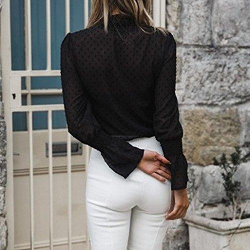 Ladies Tank YUMM Camicie Casual Camicetta Chiffon Tops Nero Top Sciolto Donna FFpqwEx6