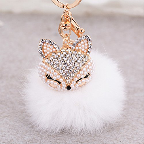 Anple SWEET-699 Real Rabbit Fur Ball with Artificial Fox Head Inlay Pearl Rhinestone Key Chain for Womens Bag or Cellphone or Car Pendant (White3)