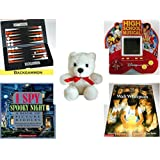 """Children's Gift Bundle - Ages 6-12 [5 Piece] - Pocket-sized Backgammon Travel Game - High School Musical 5 in 1 Electronic Handheld Game - White Teddy Bear Red Ribbon Plush 5"""" - I Spy Spooky Night:"""