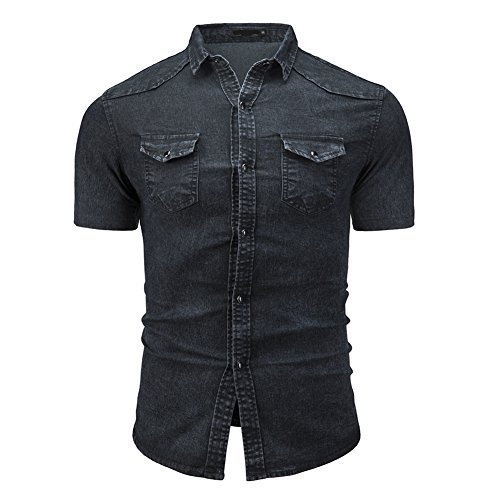 - Men's Cowboy Casual Cotton Long Sleeve Denim Work Dress Shirt Jacket Slim Fit Shirts (Black Short Sleeve, M)