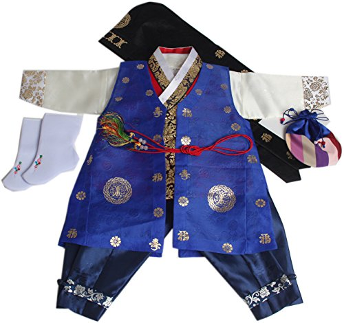 Korean Traditional Costume For Boys (Korean Traditional Hanboks Costumes BABY BOYS KIDS 1st Birthday DOLBOK hb004/1)
