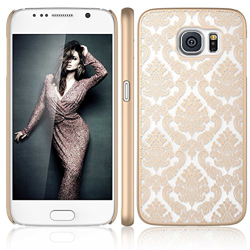 Galaxy S6 Edge Plus Case, ARSUE (TM) Ultra Thin Case, Damask Vintage Pattern Slim Hard Case For Samsung Galaxy S6 Edge Plus (Gold) (Samsung Galaxy S4 Stussy Case)