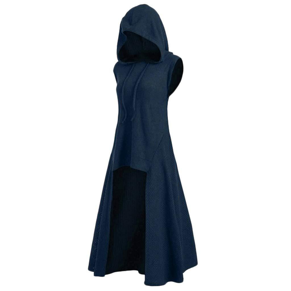 Women Hooded Sweatshirt Dress Sleeveless Medieval Vintage Lace Up High Low Cloak Robe (XXXXXL, Blue) by Suoxo Women Dresses