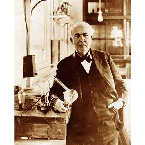 Quality digital print of a vintage photograph - Thomas Edison poses with his light bulbs.Sepia Tone8x10 inches - Matte Finish