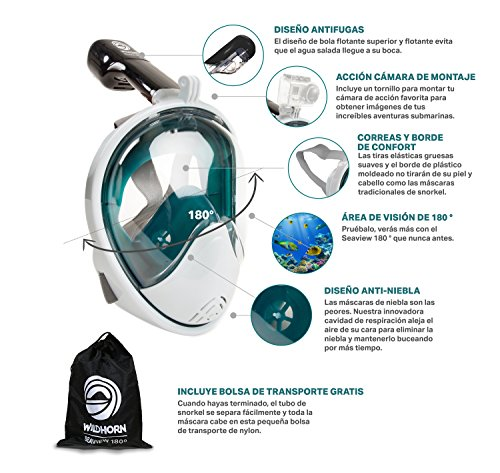 Seaview 180 Degree Panoramic Snorkel Mask- Full Face Design,Panoramic White / Teal,Large/Extra Large