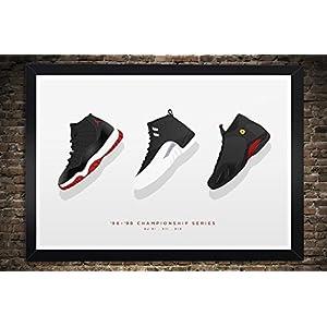 "Air Jordan 11, 12, 14 ""94-96 Championship Series"" - Illustration, Vintage Hanging Kicks - Sneaker Wall Art - 13"" x 19"", 18"" x 24"", 24"" x 36"""