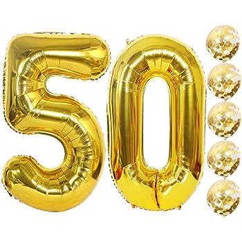Amazon.com: Globos de confeti Eokeanon número 50 y dorados ...