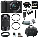 Sony a5100 (ILCE-5100 ILCE5100LB ILCE5100L/B) 24MP Interchangeable Lens Camera with 16-50mm Power Zoom Lens (Black) + Sony E 55-210mm F4.5-6.3 Lens + Wasabi NP-FW50 Battery and Charger + Sony 32GB Class 10 Memory Card + Two Tiffen UV Protector Filters + Deluxe Accessory Kit