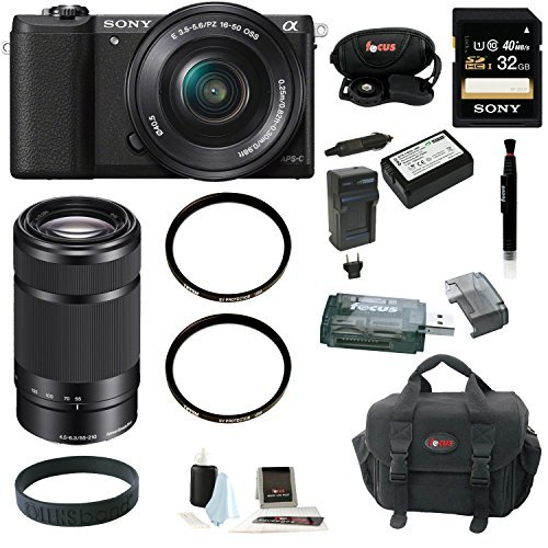 Sony a5100 w/ 16-50mm Power Zoom Lens (Black) &SEL55210 + 32GB Deluxe Acc Kit