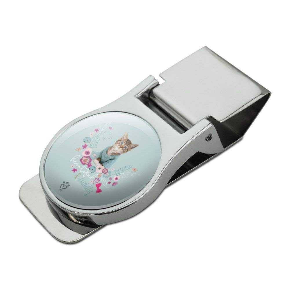 Beautiful Cuddly Cat Kitten in a Sweater Satin Chrome Plated Metal Money Clip