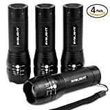 Pack of 4, LED Pocket Torch, BYBLIGHT Super Bright 150 Lumen 3-Mode Zoomable LED Flashlight T