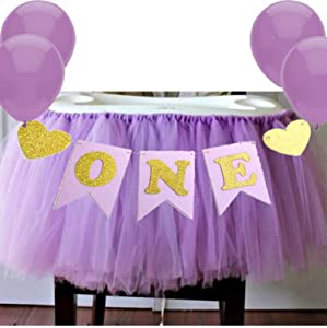 "Purple 1st Birthday Baby Tutu for High Chair Decoration and""ONE"" Pennant Happy Birthday for Highchair"