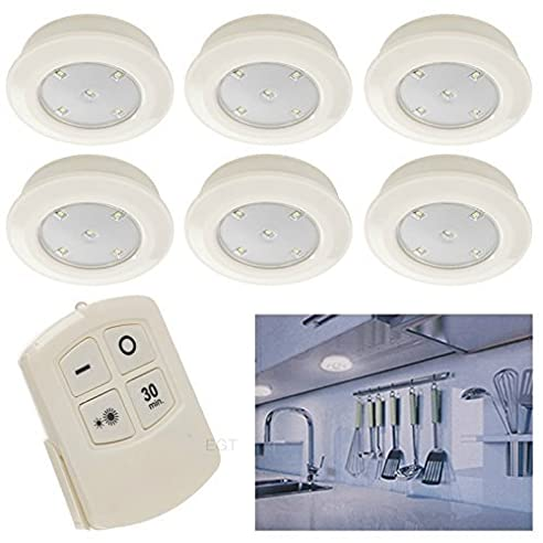 6 Fernbedienung Wand Decke kabellos rund LED Lampen Küche ...