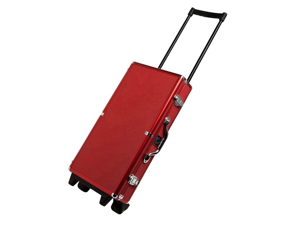 White Swan Mah Jongg Set - Modern Wheeled Aluminum Case - (Ivory Tiles - Pusher Arms - Red) American Mahjong Game Set