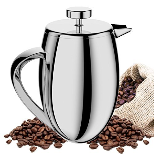 TAOindustry French Press Coffee Maker Double Wall Stainless Steel – Heat Resistant Columbia 8-Cup 1 Liter + FREE Bonuses For Sale