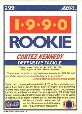1990 Score Football Rookie Card #299 Cortez Kennedy Mint