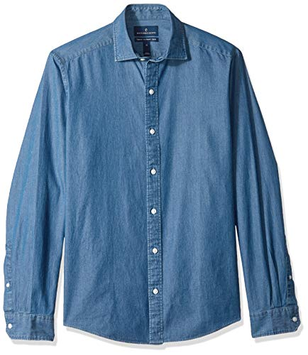 - BUTTONED DOWN Men's Tailored Fit Indigo Denim Cotton Sport Shirt, Medium Blue, X-Large