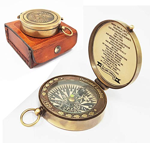 Brass Nautical -Beautiful Brass Compass in Box 1920 Dollodn London ()