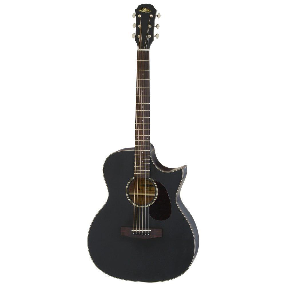 ARIA 101CE MTBK Cutaway Electric リッターケース付き エレクトリックアコースティックギター   B01N3U5H00