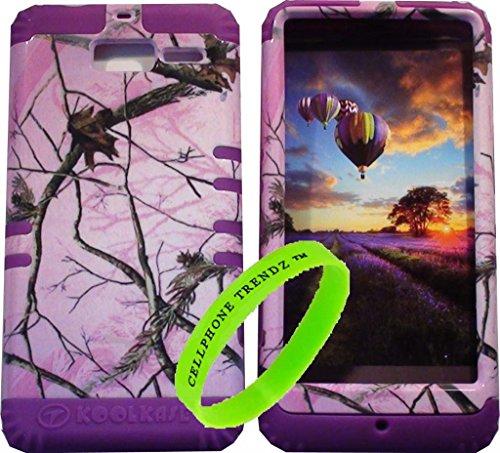 Cellphone Trendz Hybrid Rocker Case for Motorola DROID RAZR M (XT907, 4G LTE, Verizon) - Purple Silicone with Hard Hunter Series Pink Camo Real Oak Tree Case