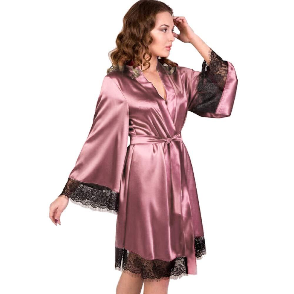 OSYARD Peignoir Satin Robe de Chambre Kimono Femme Sortie de Bain Nuisette D/éshabill/é V/êtements de Nuit Femme Satin Lingerie Dentelle