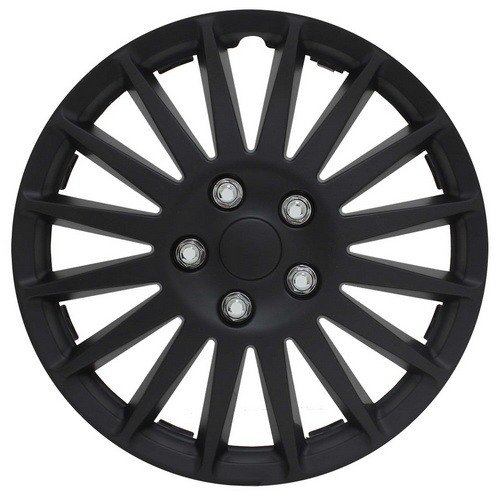 Hubcaps, Universal Wheel Cover 16 inch Wheels Fits for Most Cars Toyota Nissan Fiat and More, 4 in 1 Package (ALL BLACK)