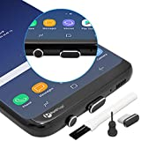 PortPlugs – Premium USB C Aluminum Dust Plug Set – USB Type C and Headphone Plug w/ SIM Card Remover and Cleaning Brush- Secure Fit for Samsung Galaxy s9 and More (Black)