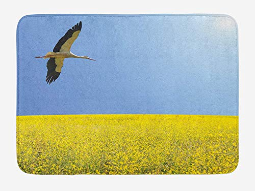Yellow and Blue Bath Mat, Alone Stork Flying in Clear Sky Over Spring Flowering Field Freedom Picture, Plush Bathroom Decor Mat with Non Slip Backing, 23.6 W X 15.7 W Inches, Multicolor ()