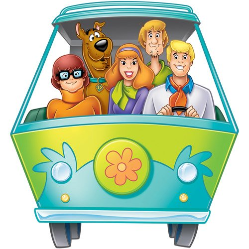 ON Kids Green Blue Orange Scooby Doo Wall Decals, Cartoon Themed Wall Stickers Peel Stick, Fun Animated Dog Puppy Detectives Shaggy Mystery Machine Decorative Graphic Mural Art, Vinyl