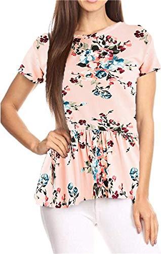 GOCHIC Womens Ruffle Hem Peplum Tunic Blouse Floral Print Short Sleeve T Shirt Tops #2Light Pink M