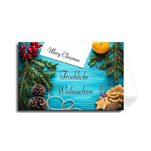 German Merry Christmas Greeting Card - Blue Desktop Holiday (Florentine Cursive Font) 5 Cards