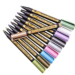 ❤Ywoow❤  Metallic Glitter Paint Pen Design Glass Wood Canvas DIY Crafts for Painting Card
