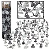 Monster Action Figure Bucket - 100 Horror Toy Figures with 13 Unique Sculpts - From Dracula to Frankenstein to Giant Spiders- Perfect for Roleplaying, D&D Gaming, Magic the Gathering and More!