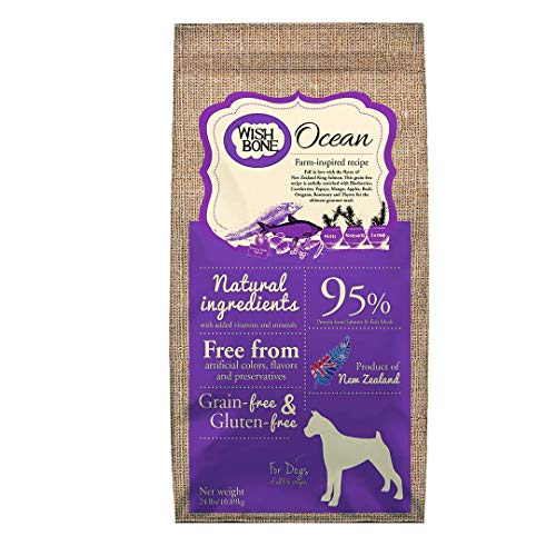 Wishbone Ocean Grain-Free and Gluten-Free Dog Food, Made from New Zealand King Salmon Dry Cat Food, All Natural Dog Food, Rich in Omega 3 Dog Food, High Protein Dry Dog Food, for All Dog Life Stages