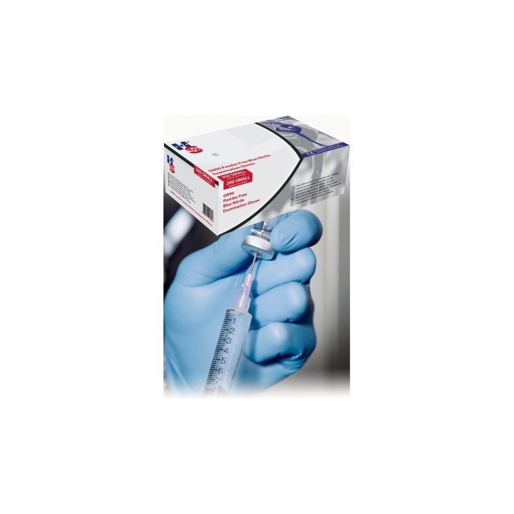 Handsafe HEA00012 Powder-Free Gloves, Nitrile, Medium, Blue (Pack of 200) HPC Healthline UK Ltd