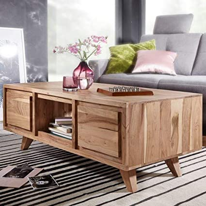 Wohnling Tico Table Basse rectangulaire en Bois d\'acacia Massif avec  Rangement, Table de Salon et Table de Rangement Marron Massif 118 x 46 x 60  cm
