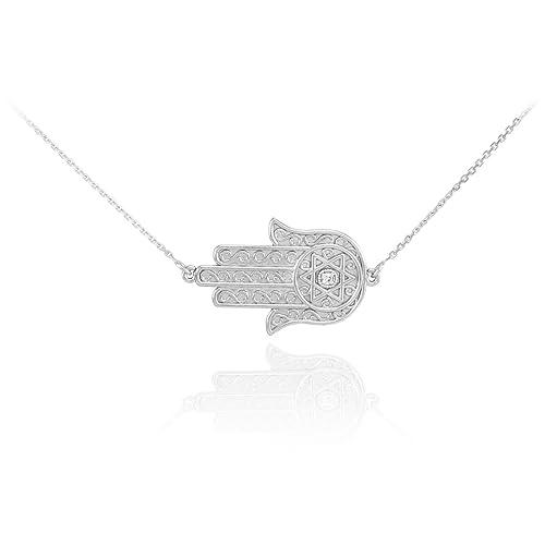 14k White Gold Diamond Jewish Star of David Sideways Hamsa Protection Necklace