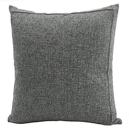 Jepeak Burlap Linen Throw Pillow Cover Cushion Case, Farmhouse Modern Decorative Solid Square Pillow Case, Thickened Luxury for Sofa Couch Bed (16 x 16 Inches, Dark Grey)